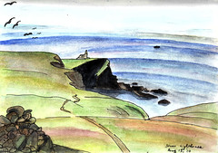 Pen and watercolor sketch at Stoer Lighthouse, Scotland, August 2010 (novarex1) Tags: sea urban lighthouse watercolor scotland sketch sketching watercolour stoer
