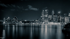 VIVID SYDNEY B+W (Laith Stevens Photography) Tags: city blackandwhite skyline clouds reflections harbor cool harbour ngc sydney vivid australia olympus citylights operahouse omdem1 1240mmf28
