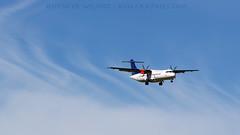 SAS ATR-72. (spencer.wilmot) Tags: aviation airplane aircraft airliner commuter prop turboprop atr72 oyjzg sas sk scandinavian scandinavianairlines cph ekch kastrup arrival approach clouds ttail plane denmark copenhagen