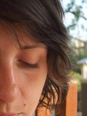 Thoughtful (chrisroach) Tags: summer portrait woman brown girl hair pub head thinking mole