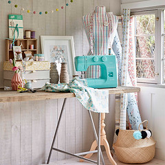 Turquoise Sewing Machine (Heath & the B.L.T. boys) Tags: floral studio office basket desk sewing garland