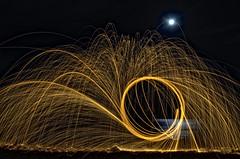 Lightpainting, test one (Santini1972) Tags: light sea moon lightpainting beach night circle fire noche mar outdoor luna fuego gasoline gasolina nikond5100