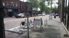 Ballard Ave Bike Rack Install (Seattle Department of Transportation) Tags: temp seattle park bike sign no parking installation transportation ballard racks onstreet sdot