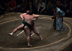 Two sumo wrestlers fighting at the ryogoku kokugikan arena, Kanto region, Tokyo, Japan (Eric Lafforgue) Tags: people male men sport japan horizontal asian japanese tokyo big fight referee asia fighter power martial wrestling fat traditional champion culture traditions lifestyle competition clash ring east indoors tournament ritual leisure sumo inside strength fullframe athlete adults wrestlers adultsonly cultural obese overweight ryogoku 3people competitors kantoregion threepeople colourpicture 2029years japan161080
