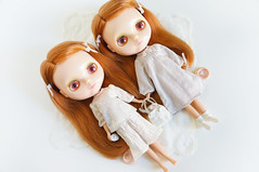 Bella n Stella (little  lovelies) Tags: stella light snow girl vintage clothing doll dress handmade lace buttons lawn auburn blouse redhead clothes fabric cotton handcrafted kenner blythe bella 1972 mori weight functional gauze sheer gaucho elastic sidepart pintuck morigirl