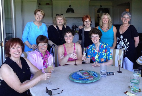 An author luncheon at my house with author friends—Christina Dodd, Debbie Macomber, Stella Cameron, Jill Barnett, Megan Chance, Jayne Ann Krentz, Katherine Stone, and Susan Anderson.