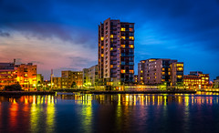 Cardiff bay, colourful blue hour (technodean2000) Tags: city building water skyline architecture night landscape bay pier nikon long exposure apartments waterfront outdoor cardiff d750 d610 d3200 d810 d5500 d5200 d5100 d3100