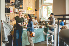 At the coffeeshop (neus_oliver) Tags: morning people coffee breakfast bar germany working coffeeshop mug muffin mnster roestbar