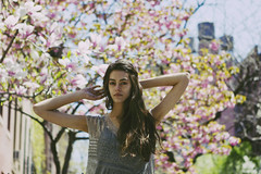 Springtime in new york city (haylee -) Tags: city nyc pink flowers trees light summer girl spring model soft blossom models bloom click sequins