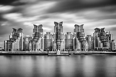 Judgement Day (D A Scott) Tags: uk england blackandwhite cloud london saint st thames silver reflections river george movement long exposure wharf georges vauxhall efex
