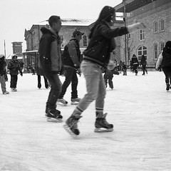 Meanwhile, Back in February...... (BunnySafari) Tags: winter bw film cityhall skating guelph goldie on ilforddelta100 fpp 2013 autaut