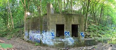 Esholt Woods: Old Bunker (Alex Leat) Tags: bridge trees summer people plants green beautiful contrast forest liverpool graffiti landscapes canal woods rust scenery bradford leeds rail hidden bunker rusted footpath yeadon photstitch esholt