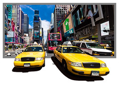 Taxiland (Michel Couprie) Tags: street nyc shadow usa newyork building car yellow canon eos colorful manhattan cab taxi sigma wideangle voiture ombre timesquare frame 1020mm rue cadre outofbounds grandangle 450d