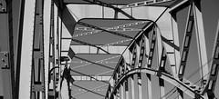 (Rasmus Lundberg #1) Tags: old bridge light bw white black art photo day shadows traffic sweden stockholm steel transport rail railway infrastructure sverige tramway liding jrnvg ropsten sprvg