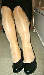 helennorthcoast - Shiny tights (helennorthcoast) Tags: stockings highheels legs cd tights cast bandage crossdresser splint sprain