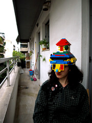 Super Lego Girl (g.vryttia) Tags: portrait sculpture woman house selfportrait cute art girl hat toys soft play lego mask legs lipstick cuteness playful