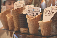 chocolate dipped please! ([o] suze q) Tags: italy chocolate tuscany gelato sangimignano chocolatedipped gelateria wafflecones gelateriadondoli