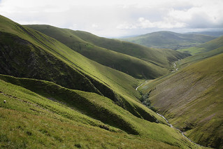 Looking into Carlin Gill, Howgill Fells, Yorkshire Dales National Park, Cumbria, UK