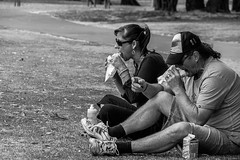 Couple Lunching (Pauls-Pictures) Tags: ocean street sea two people blackandwhite seascape beach lunch photography coast seaside couple candid pair sony side streetphotography 7 australia western alpha scape westernaustralia photograhy streetphotos lunching nex streetpics streetphotograhy streetpictures seasice nexf sonynex7 sonyalphanex7