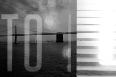 Mystery Roll Project - Bridge & Blinds (TO) (J. Astra Brinkmann) Tags: sanfrancisco blackandwhite typography experimental doubleexposure kodaktrix pentaxmx