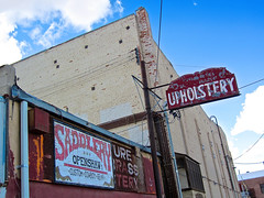 Upholstery, Fallon, NV (Robby Virus) Tags: sign shop alley nevada faded signage fallon upholstery saddlery openshaw