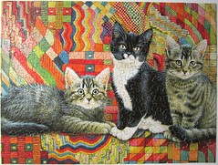 Christie, Posky & Zelly on a Deco Rug (Lesley Anne Ivory) (Leonisha) Tags: cat chat kittens puzzle katze jigsawpuzzle ktzchen
