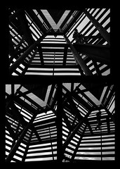 Cage (.noctifer) Tags: people blackandwhite woman abstract building tower girl monochrome lines architecture greek iron triptych scaffolding outdoor stripes cage structure greece human steal watchtower