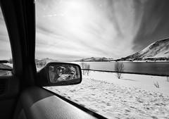 On the road. (S_Peter) Tags: leica bw car norway mirror norge cosina voigtlaender north wide norwegen super arctic sw 12mm schwarzweiss voigtlnder nord heliar troms m82 arnoya arnya skjervy arnya