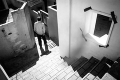 Down the stairs (Henry Sudarman) Tags: people blackandwhite bw ir samsung korea humaninterest hitamputih v93 samsungnx nx10 harlimir busantraveling