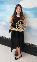 Megan with her french horn (Frank (NianticPhoto)) Tags: unitedstates connecticut ct granddaughter coventry frenchhorn chs blackdress bandconcert meganhardy jessicarowles frankoller cnhms