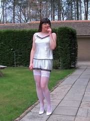 Careful... (Paula Satijn) Tags: white hot cute sexy stockings girl garden pumps legs knickers sweet lace silk adorable tgirl transvestite satin cami silky camisole