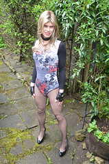 Another day another new body (Miss Nina Jay) Tags: body gloves heels fishnets trannie