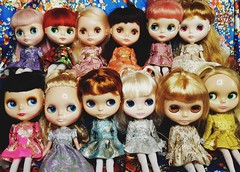Anouk and her gal pals being all fancy  (endangeredsissy) Tags: blythe blythedoll kennerblythe 365blythe neoblythe mylittlecandy silversnow rendezvouschouchou daintybiscuit allgoldinone goldie mondrian modmolly kozycape