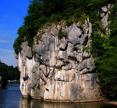 P5270592adsft (photos-by-sherm) Tags: trees rock river germany boat spring ship tour danube narrows formations