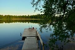 At the cottage (Villikko) Tags: sunset summer lake finland dock kes jrvi auringonlasku laituri