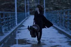 XIV (Rubn T.F.) Tags: portrait walk girl bridge blue winter windy