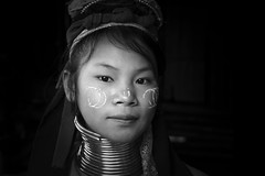 Karen Girl (fredMin) Tags: world travel portrait people white black girl monochrome thailand fuji karen mai chiang fujinon xt1