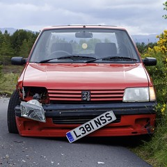 blind corner (MigKenzie Photos) Tags: light red broken car danger speed corner smash aftermath driving sad blind crash transport pug style vehicle motor peugeot collision 205 afterwards l381nss