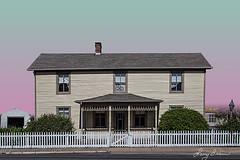 Historic House with Shrubs (LarryHB) Tags: old travel urban house horizontal fence landscape photography historic missouri stegenevieve 2016