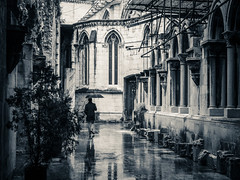 Man in the Rain - Catedral S Patriarcal, Lisbon Portugal (Sebastian Bayer) Tags: travel windows light vacation man reflection building history portugal church water glass monochrome rain architecture contrast umbrella walking ancient alley wasser catholic arch cathedral lisboa fenster room urlaub gothic kirche olympus medieval colorized architektur historical inside mann vault lissabon mystic regen matte omd laufen mystisch lightroom gasse katholisch geschichte bluetone mittelalter gewlbe schirm gothisch igrejadesantamariamaior crossvault catedralspatriarcal teiltonung patriarcadodelisboa em5markii omdem5ii kathedralevonlissabon