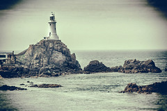 The Lighthouse at Corbiere (MacBeales) Tags: jersey lighthouse corbiere black white channel islands canon eos sea water coast