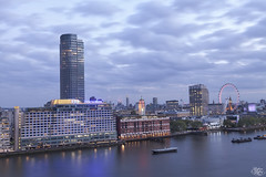 Southbank (Umbreen Hafeez) Tags: city uk blue light england building london tower thames skyline architecture night buildings river dark twilight europe long exposure cityscape outdoor southbank hour gb oxo