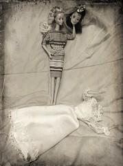 Barbie Dolls -- Always the Bridesmaid... (Aerykah) Tags: oklahoma monochrome closeup sepia headless bride doll dolls barbie creepy bridesmaid macabre disturbing 2016