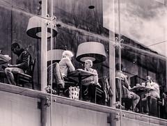 Morning Tea (Mac McCreery) Tags: windows sky people blackandwhite costa monochrome restaurant tea streetphotography diners bullring sigma1770dcmacro pentaxk5iis