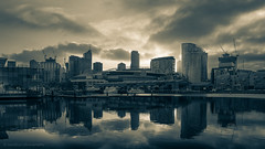 Sunrise (samiKoo) Tags: city reflection building water silhouette architecture clouds sunrise canon buildings reflections cityscape australia melbourne victoria docklands cityview 6d melbournearchitecture 24105mml