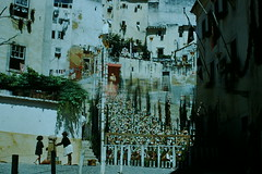 1953- Portugal- St Anthony Decorations- Moorish Qtr- Lisbon (foundslides) Tags: lisboa portugal europe 1953 1950s tourist irmalouisecarter irmalouiserudd foundslides redborder kodachrome kodak photo picture photos tourists travel iberia vintage retro old photography amateur analog slidecollection irmarudd