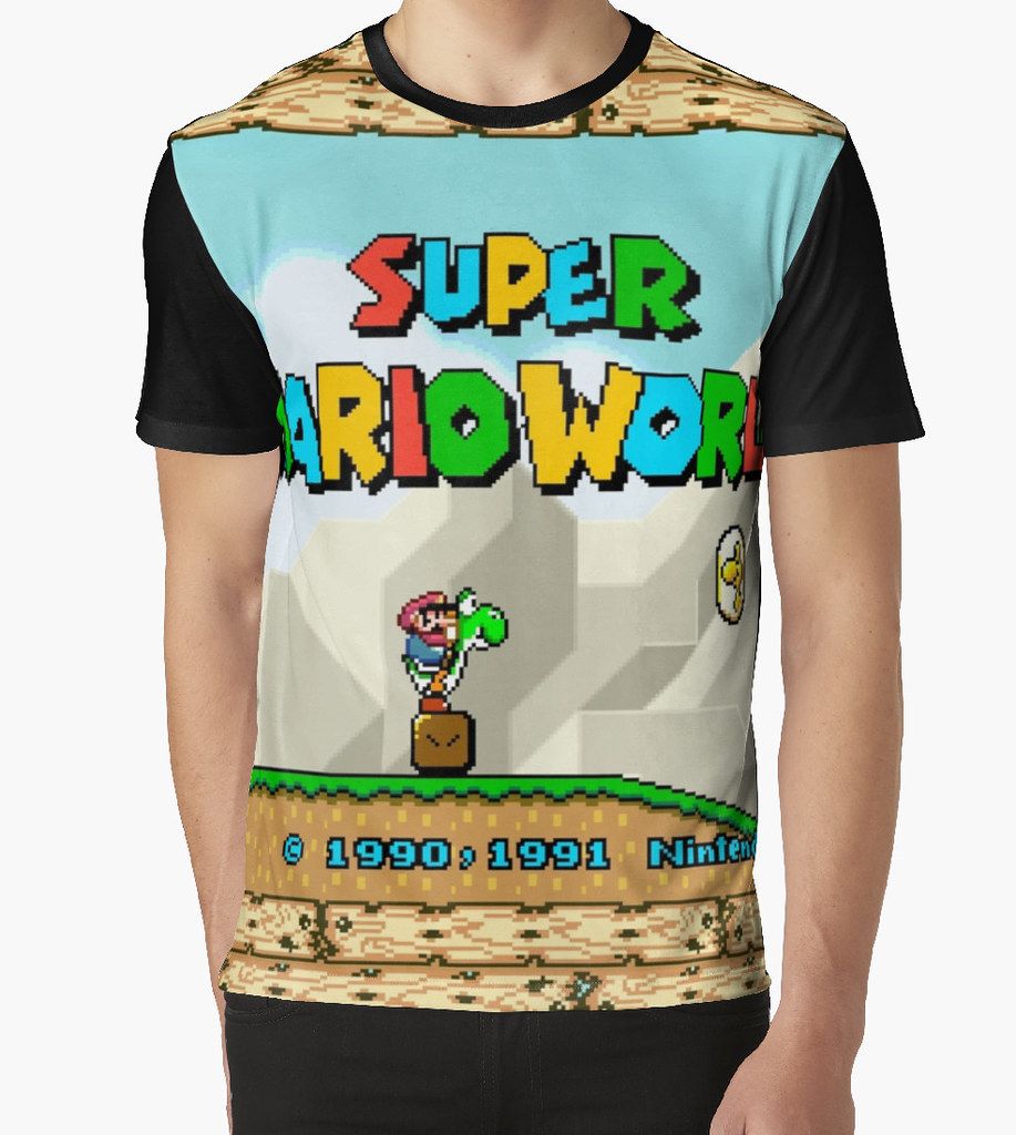 8d6fd63333bc kebuenowilly  Super Mario World title screen graphic t-shirt (Memes