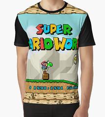 kebuenowilly: Super Mario World title screen graphic t-shirt (Memes, T-Shirts) Tags: world funny geek nintendo 8 tshirt super mario retro gaming gifts pixel pixelart nes 16 8bit tshirts merch maker mariobros bros tee yoshi bit snes supermario 16bit mariomaker