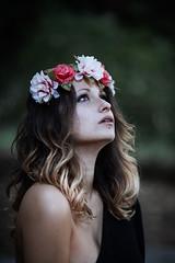 Silent prayer (la_cla25) Tags: flowers portrait flower beautiful beauty model eyes bokeh occhi freckles fiori ritratto modella lentiggini