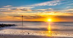 Nova sun (Anthony White) Tags: morning sea seascape sunrise unitedkingdom seagull bluesky nopeople gb avon orangesunrise